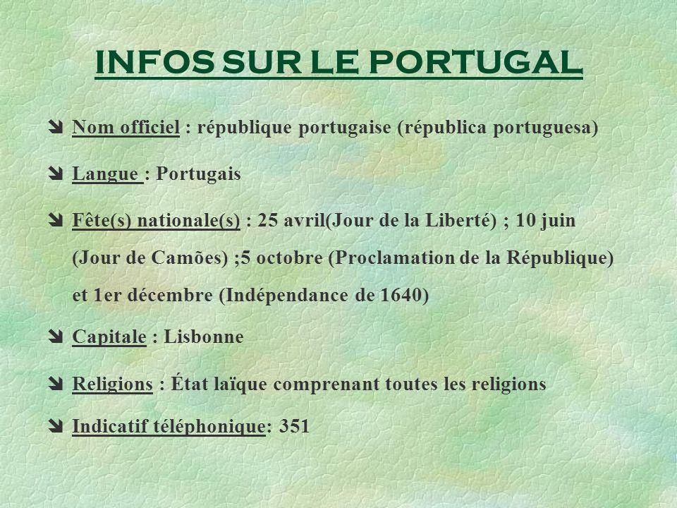 INFOS SUR LE PORTUGAL Nom officiel : république portugaise (républica portuguesa) Langue : Portugais.