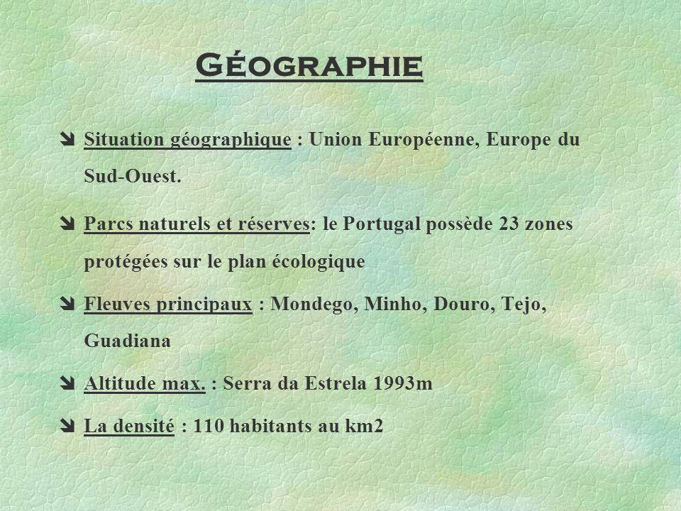 Géographie Situation géographique : Union Européenne, Europe du Sud-Ouest.