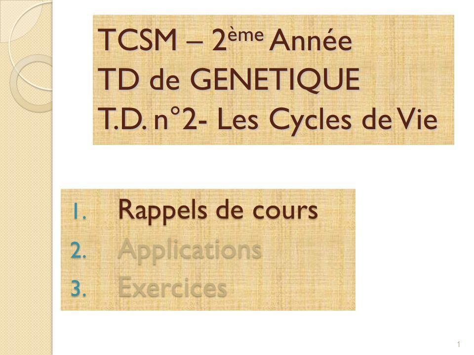 TCSM – 2ème Année TD de GENETIQUE T.D. n°2- Les Cycles de Vie