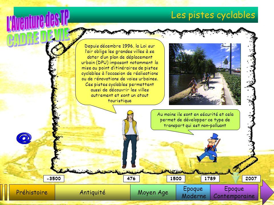 L Aventure des TP CADRE DE VIE Les pistes cyclables Préhistoire