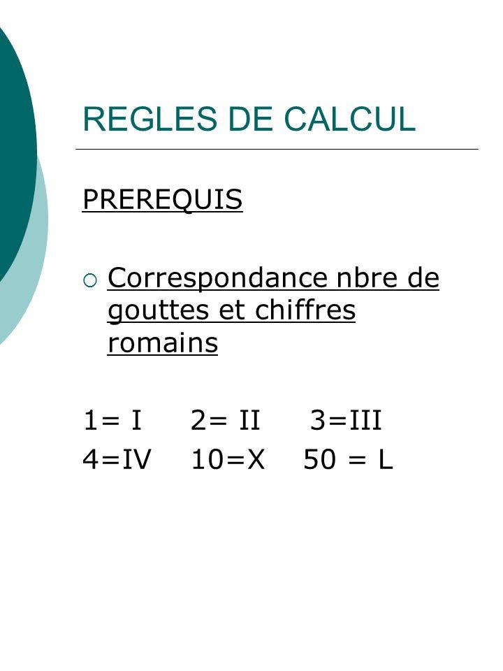 REGLES DE CALCUL PREREQUIS