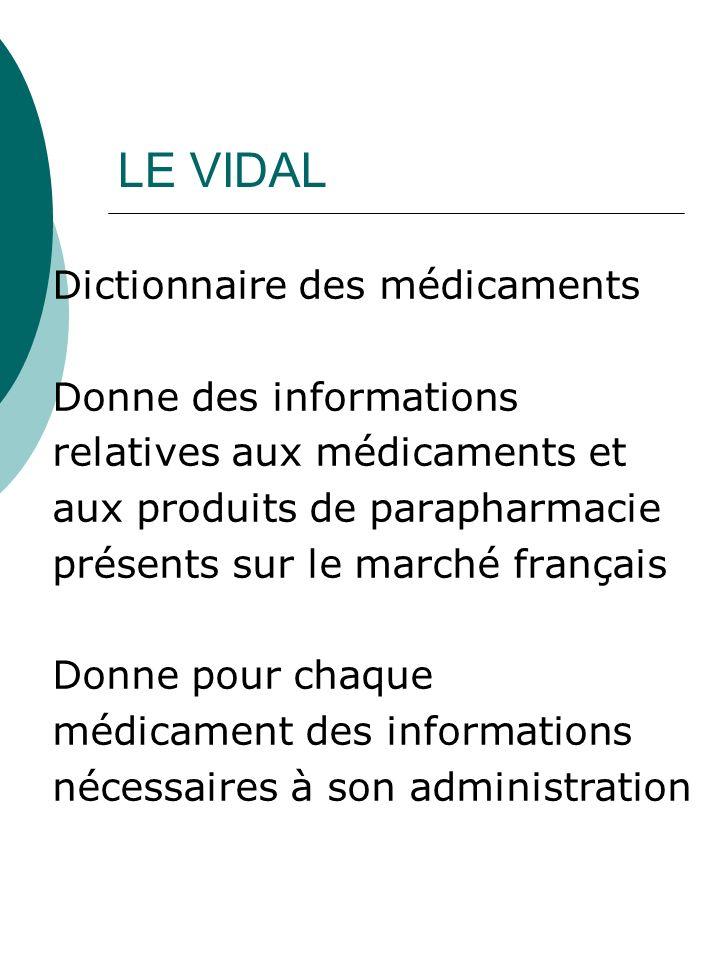LE VIDAL Dictionnaire des médicaments Donne des informations