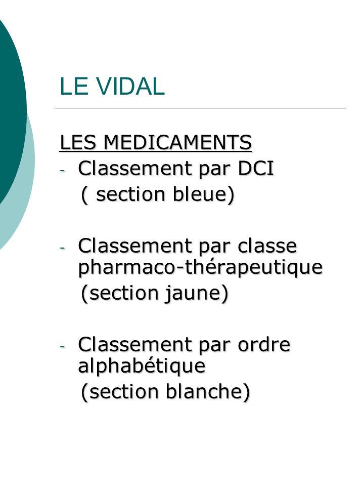 LE VIDAL LES MEDICAMENTS Classement par DCI ( section bleue)
