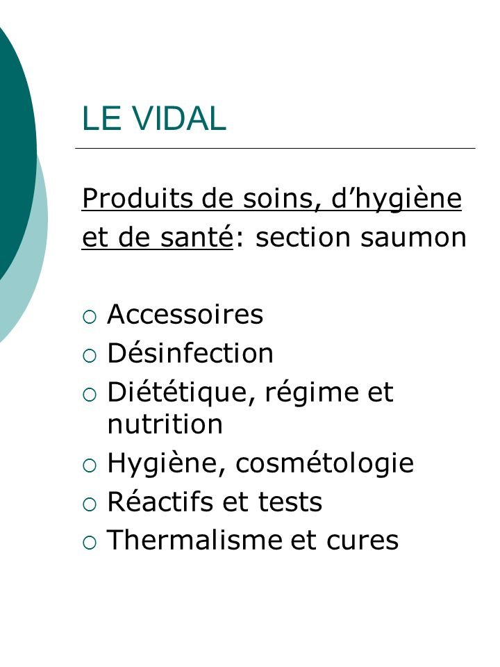 LE VIDAL Produits de soins, d'hygiène et de santé: section saumon