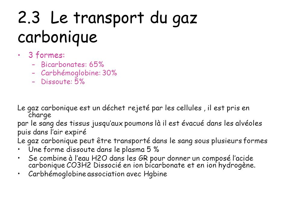 2.3 Le transport du gaz carbonique