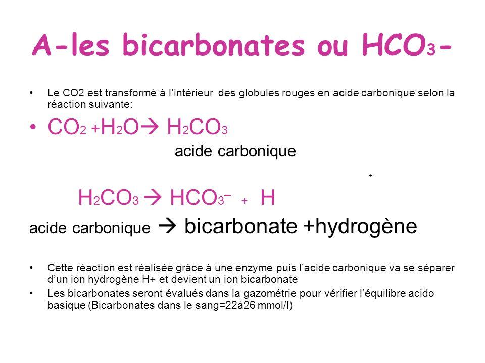 A-les bicarbonates ou HCO3-