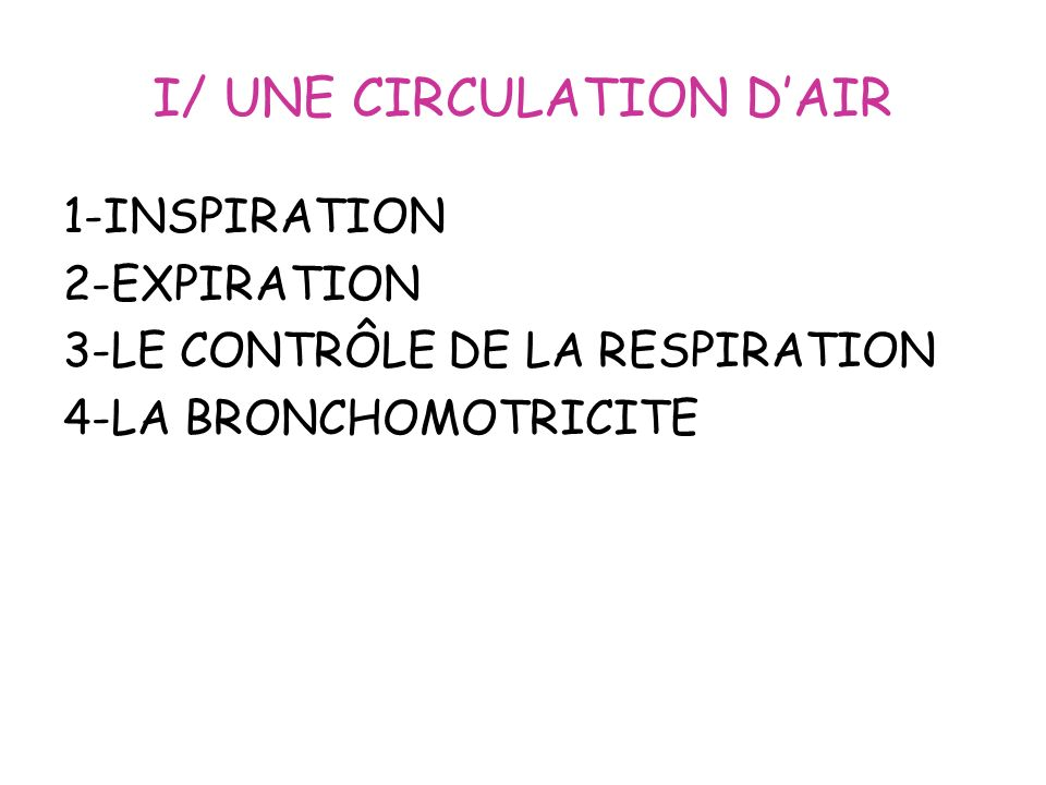 I/ UNE CIRCULATION D'AIR