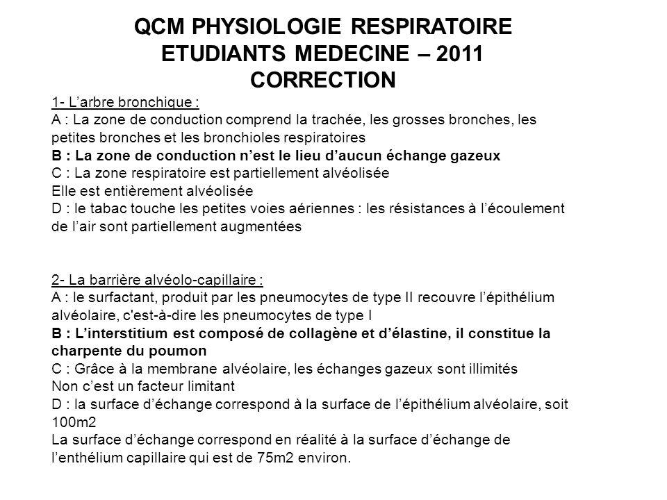 QCM PHYSIOLOGIE RESPIRATOIRE
