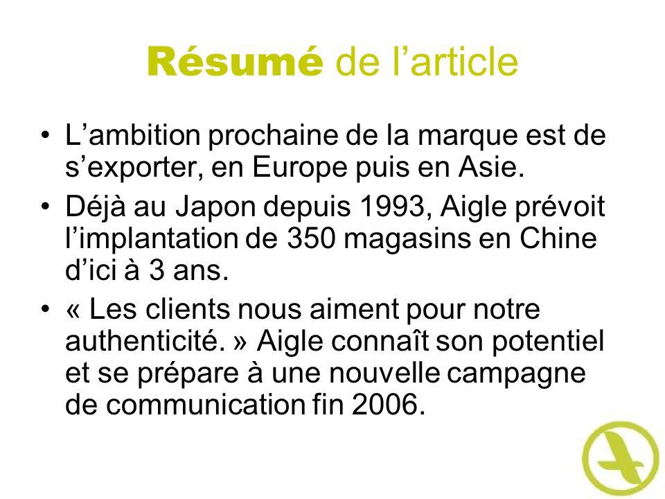 Résumé de l'article L'ambition prochaine de la marque est de s'exporter, en Europe puis en Asie.