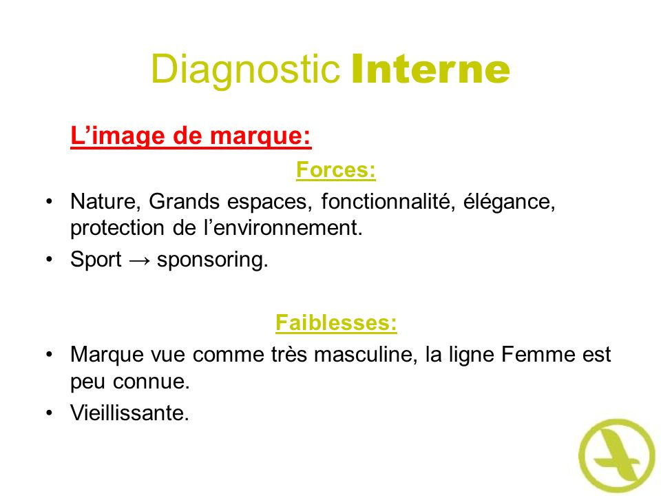 Diagnostic Interne L'image de marque: Forces: