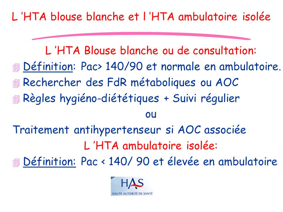 L 'HTA blouse blanche et l 'HTA ambulatoire isolée