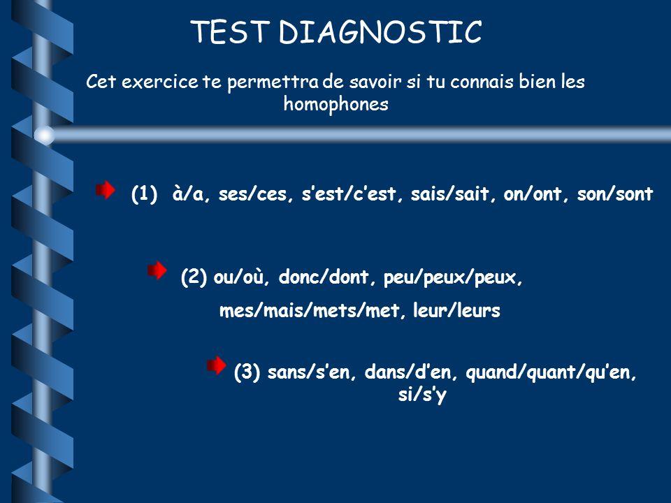 TEST DIAGNOSTIC Cet exercice te permettra de savoir si tu connais bien les homophones. (1) à/a, ses/ces, s'est/c'est, sais/sait, on/ont, son/sont.