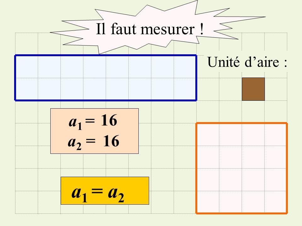 Il faut mesurer ! Unité d'aire : a1 = 16 a2 = 16 a1 = a2