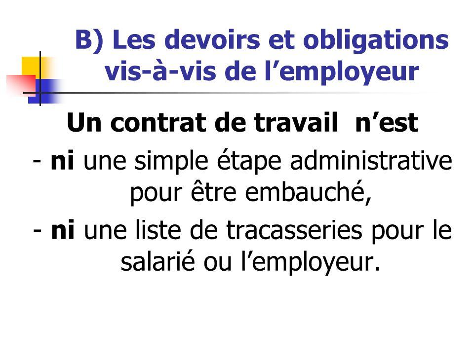 B) Les devoirs et obligations vis-à-vis de l'employeur