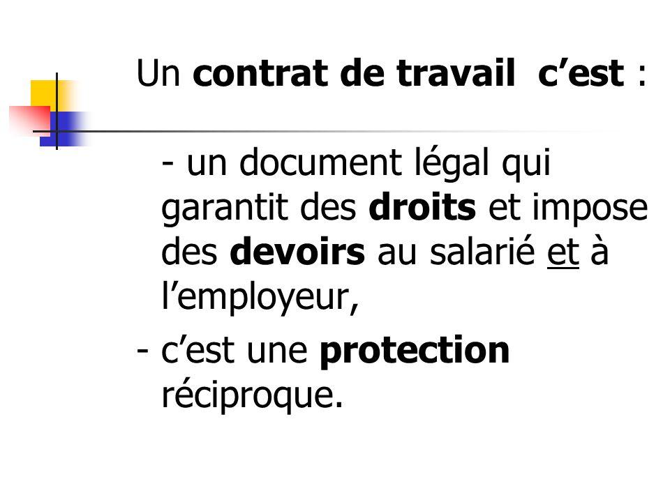 Un contrat de travail c'est : - un document légal qui garantit des droits et impose des devoirs au salarié et à l'employeur, - c'est une protection réciproque.