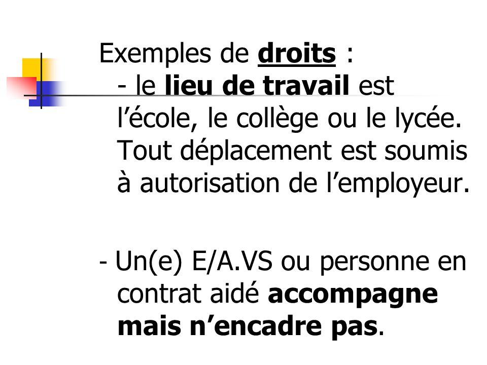 Exemples de droits : - le lieu de travail est l'école, le collège ou le lycée. Tout déplacement est soumis à autorisation de l'employeur.