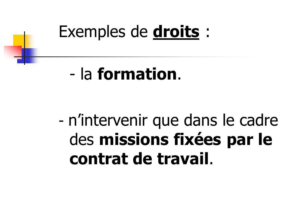Exemples de droits : - la formation.