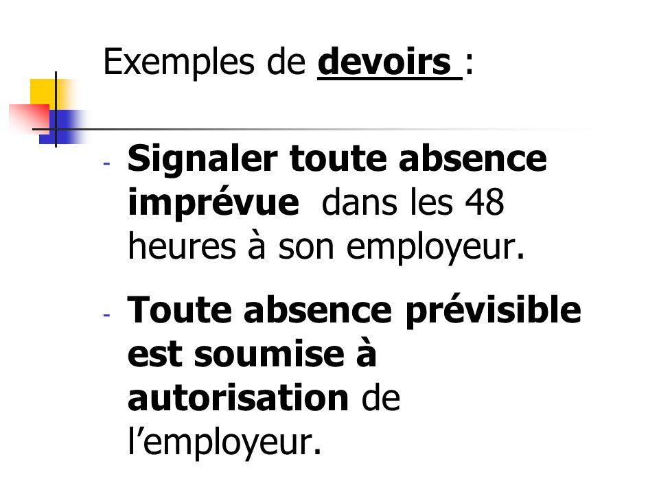 Exemples de devoirs : Signaler toute absence imprévue dans les 48 heures à son employeur.