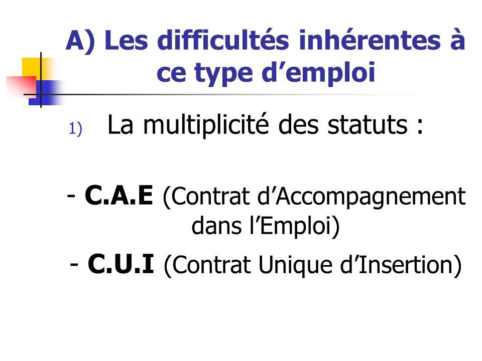A) Les difficultés inhérentes à ce type d'emploi