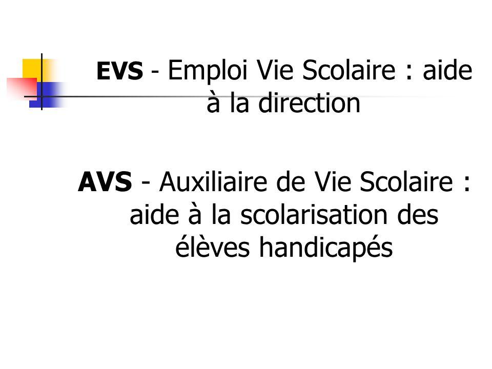 EVS - Emploi Vie Scolaire : aide à la direction