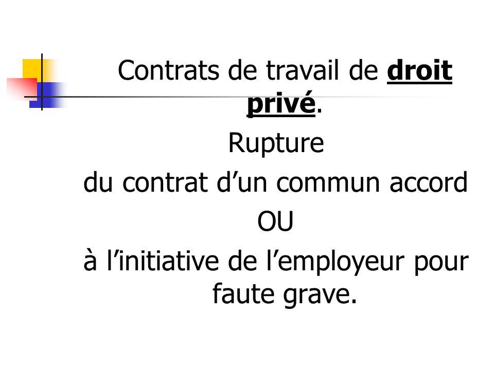 du contrat d'un commun accord OU
