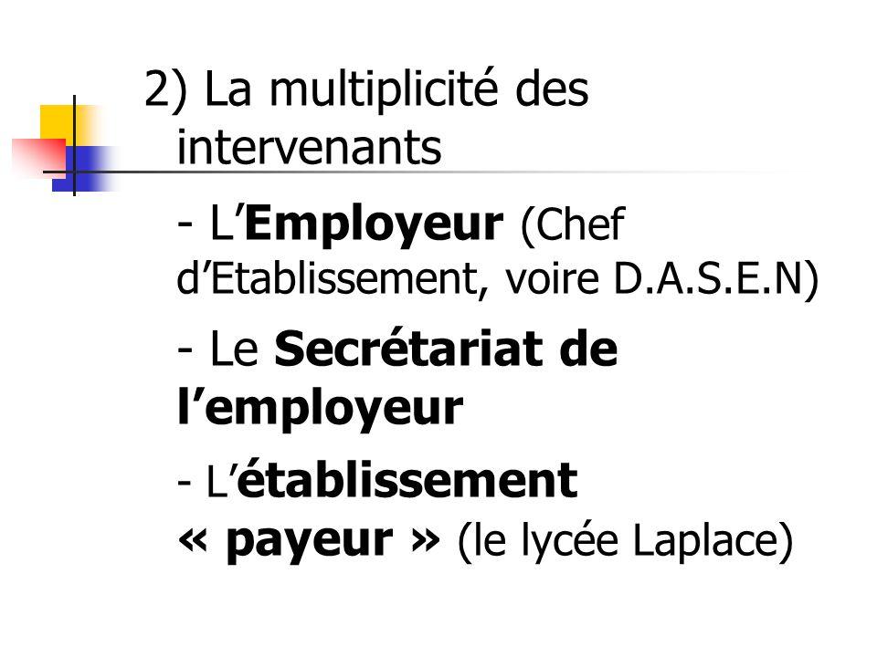 2) La multiplicité des intervenants - L'Employeur (Chef d'Etablissement, voire D.A.S.E.N) - Le Secrétariat de l'employeur - L'établissement « payeur » (le lycée Laplace)