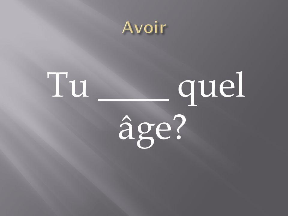 Avoir Tu ____ quel âge
