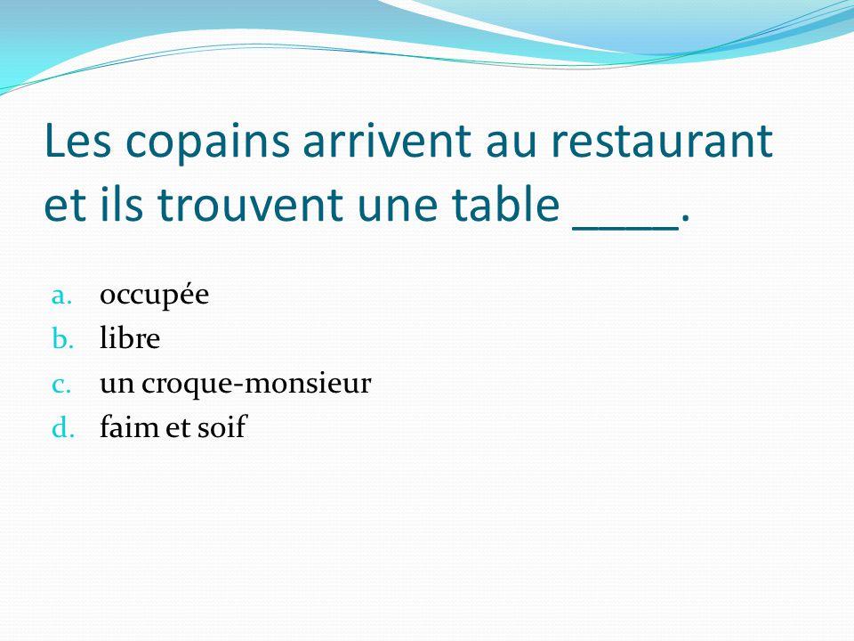 Les copains arrivent au restaurant et ils trouvent une table ____.