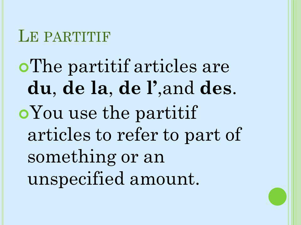 The partitif articles are du, de la, de l',and des.