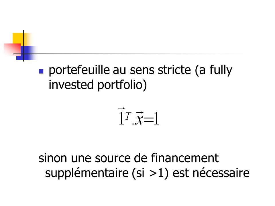 portefeuille au sens stricte (a fully invested portfolio)