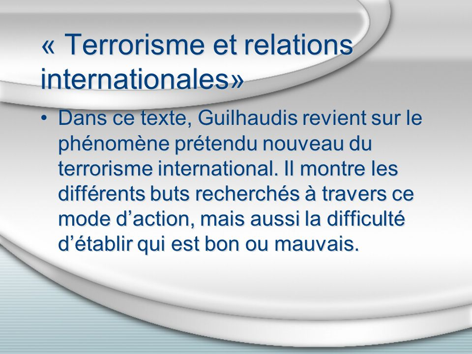 « Terrorisme et relations internationales»