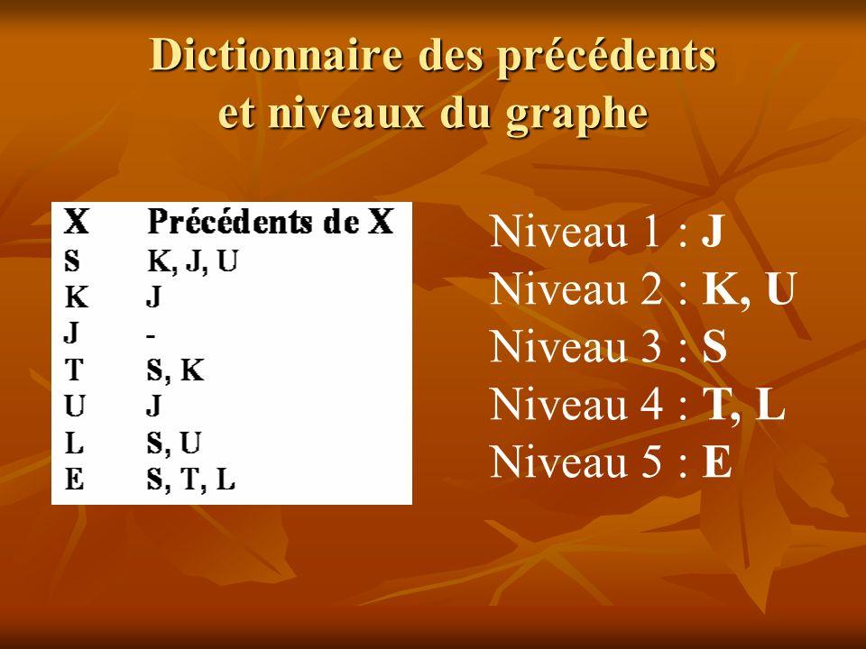 Dictionnaire des précédents et niveaux du graphe