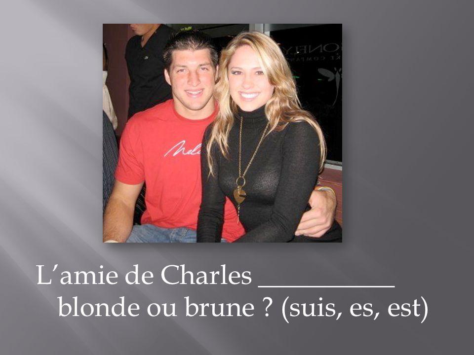 L'amie de Charles __________ blonde ou brune (suis, es, est)