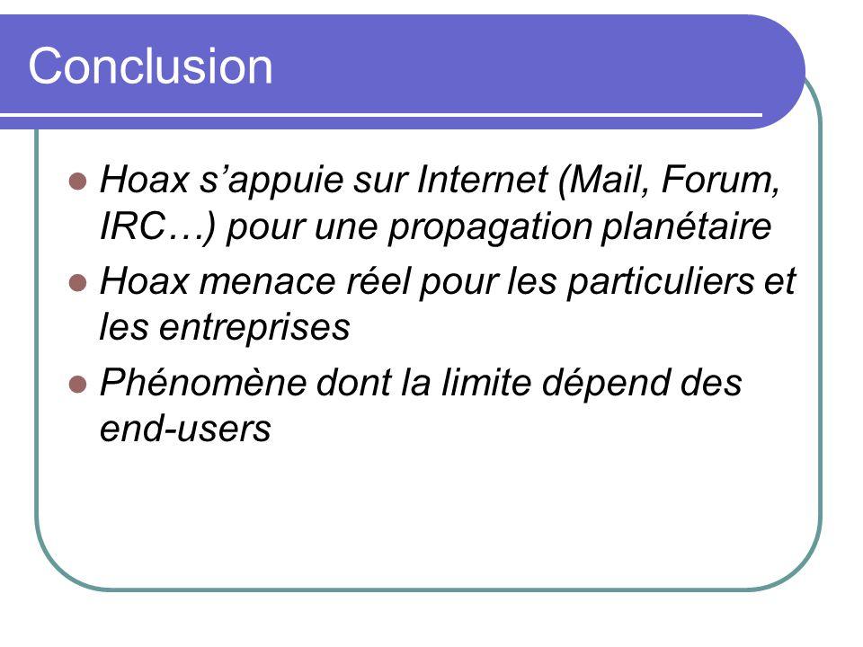 Conclusion Hoax s'appuie sur Internet (Mail, Forum, IRC…) pour une propagation planétaire. Hoax menace réel pour les particuliers et les entreprises.