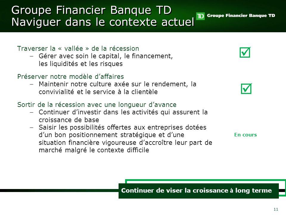 Groupe Financier Banque TD Naviguer dans le contexte actuel