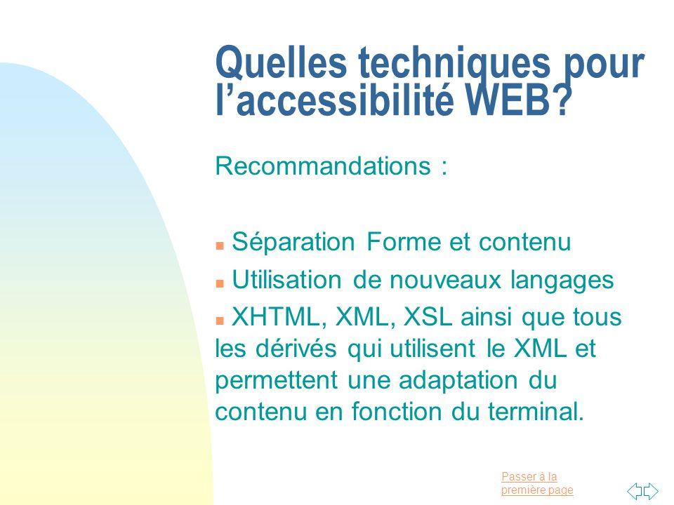 Quelles techniques pour l'accessibilité WEB