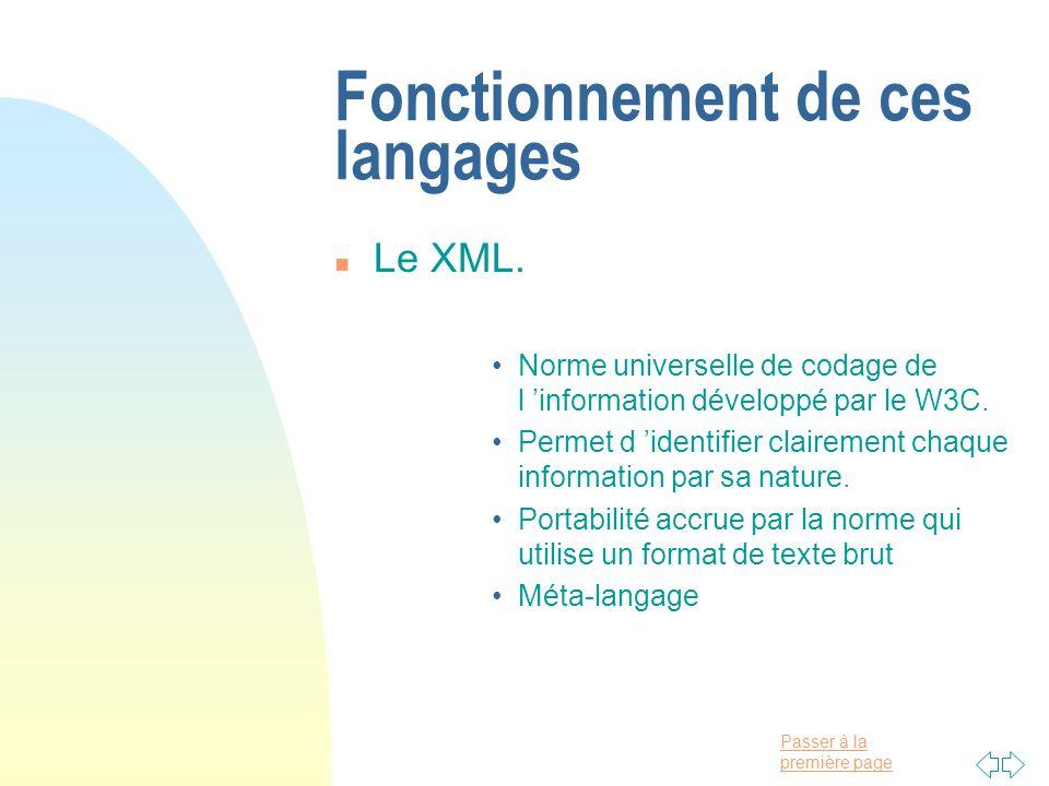Fonctionnement de ces langages