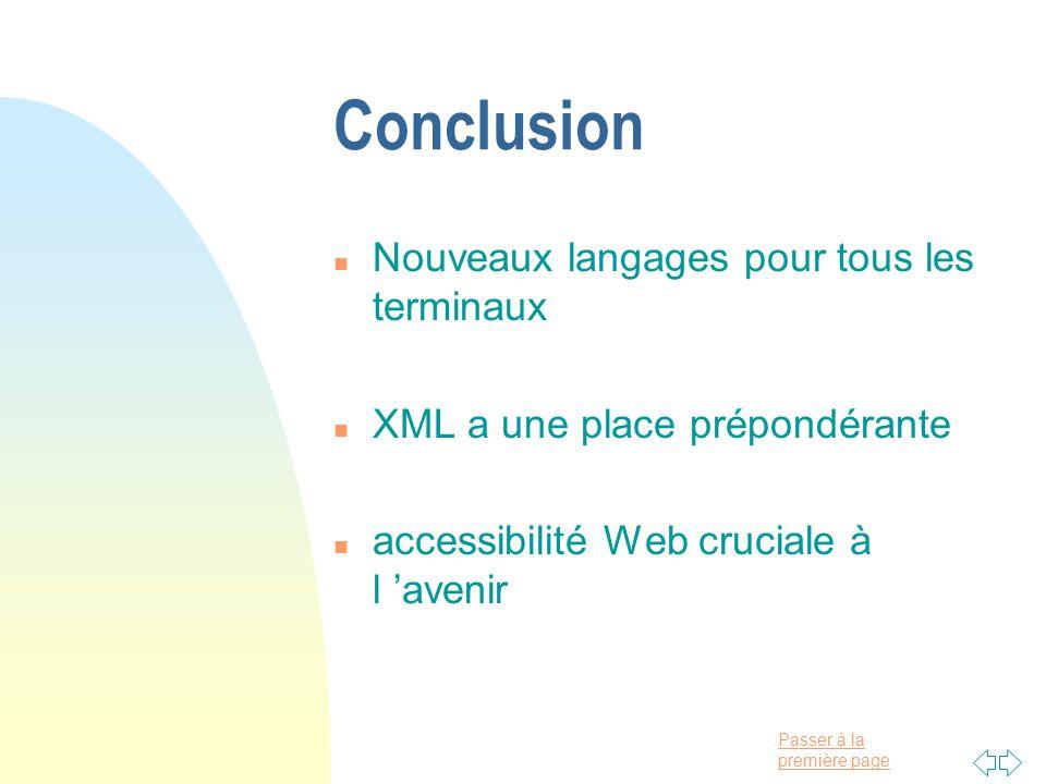 Conclusion Nouveaux langages pour tous les terminaux