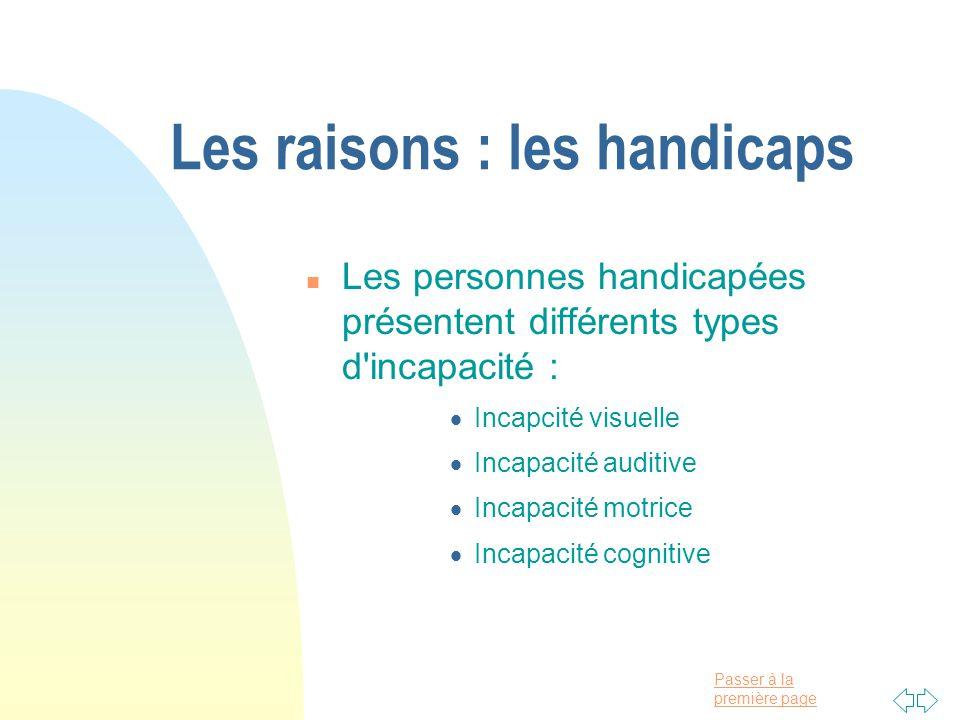 Les raisons : les handicaps
