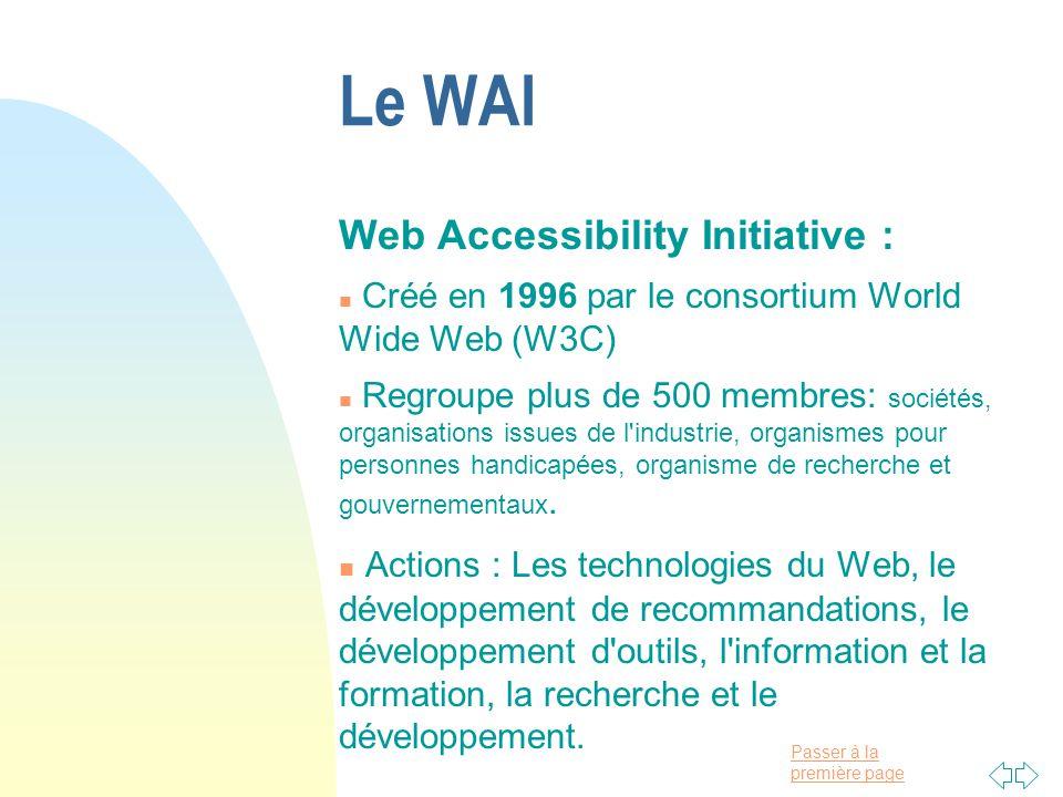 Le WAI Web Accessibility Initiative :