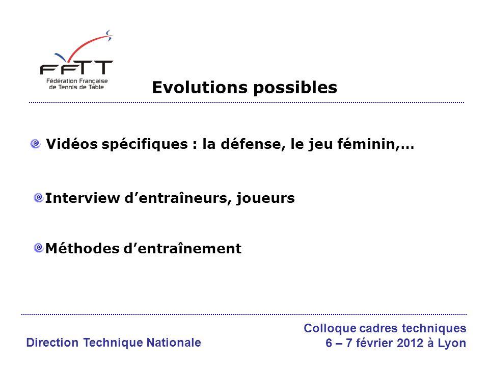 Evolutions possibles Vidéos spécifiques : la défense, le jeu féminin,…