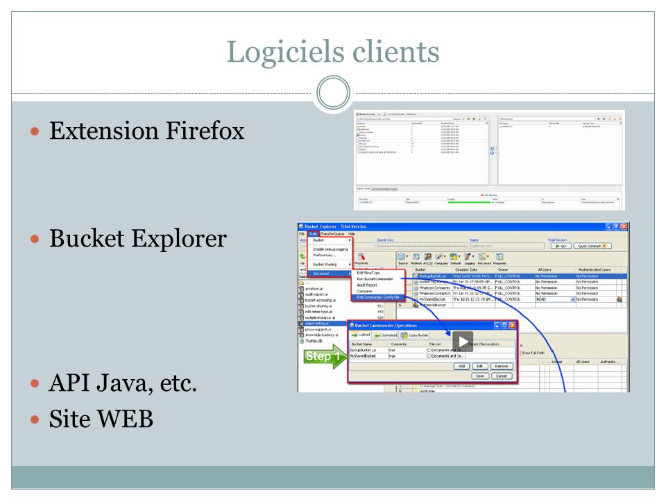 Logiciels clients Extension Firefox Bucket Explorer API Java, etc.