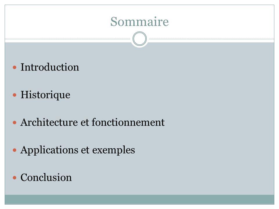 Sommaire Introduction Historique Architecture et fonctionnement
