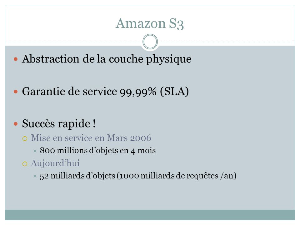 Amazon S3 Abstraction de la couche physique