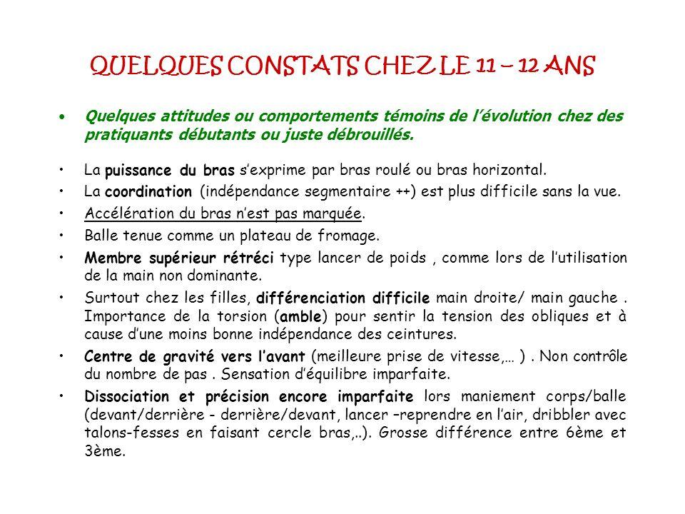 QUELQUES CONSTATS CHEZ LE 11 – 12 ANS
