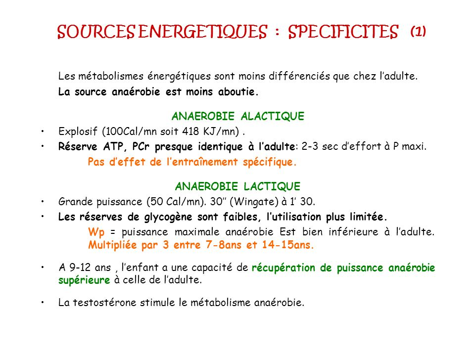 SOURCES ENERGETIQUES : SPECIFICITES (1)