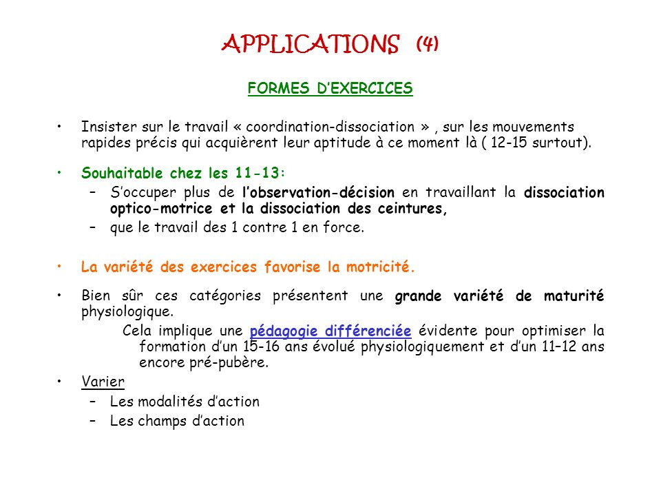 APPLICATIONS (4) FORMES D'EXERCICES