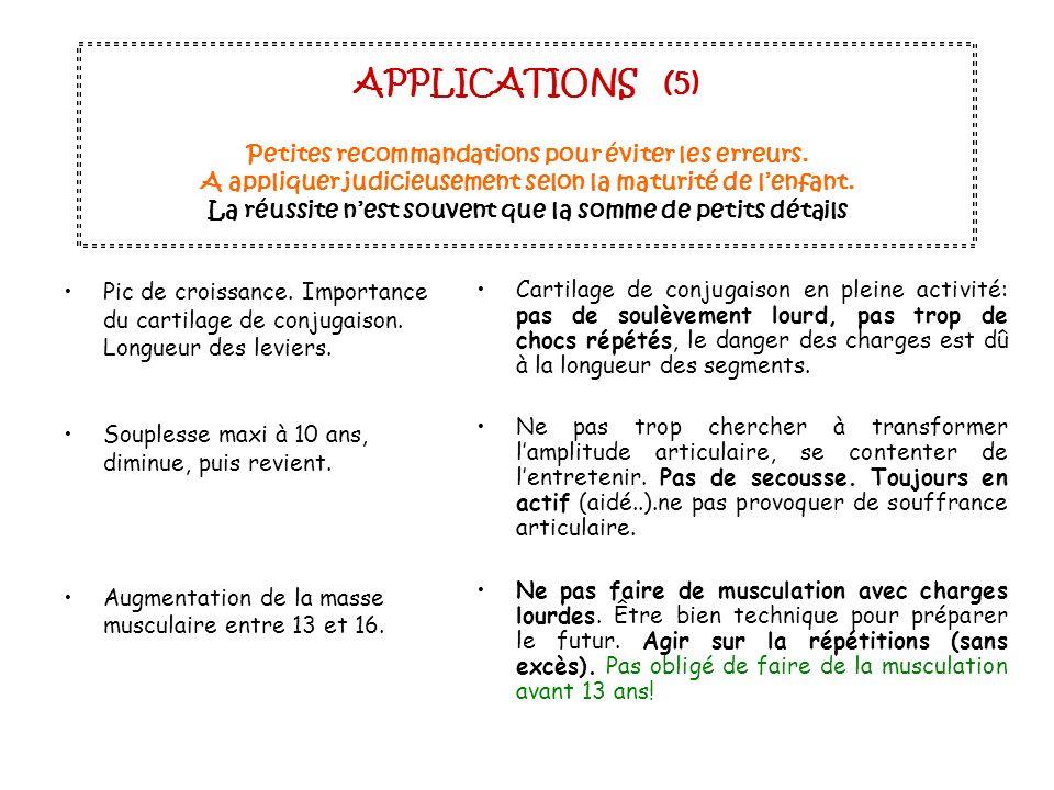 APPLICATIONS (5) Petites recommandations pour éviter les erreurs