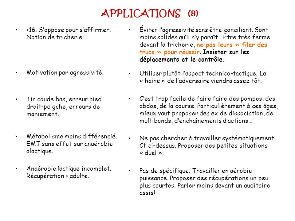 APPLICATIONS (8) <16. S'oppose pour s'affirmer. Notion de tricherie. Motivation par agressivité.