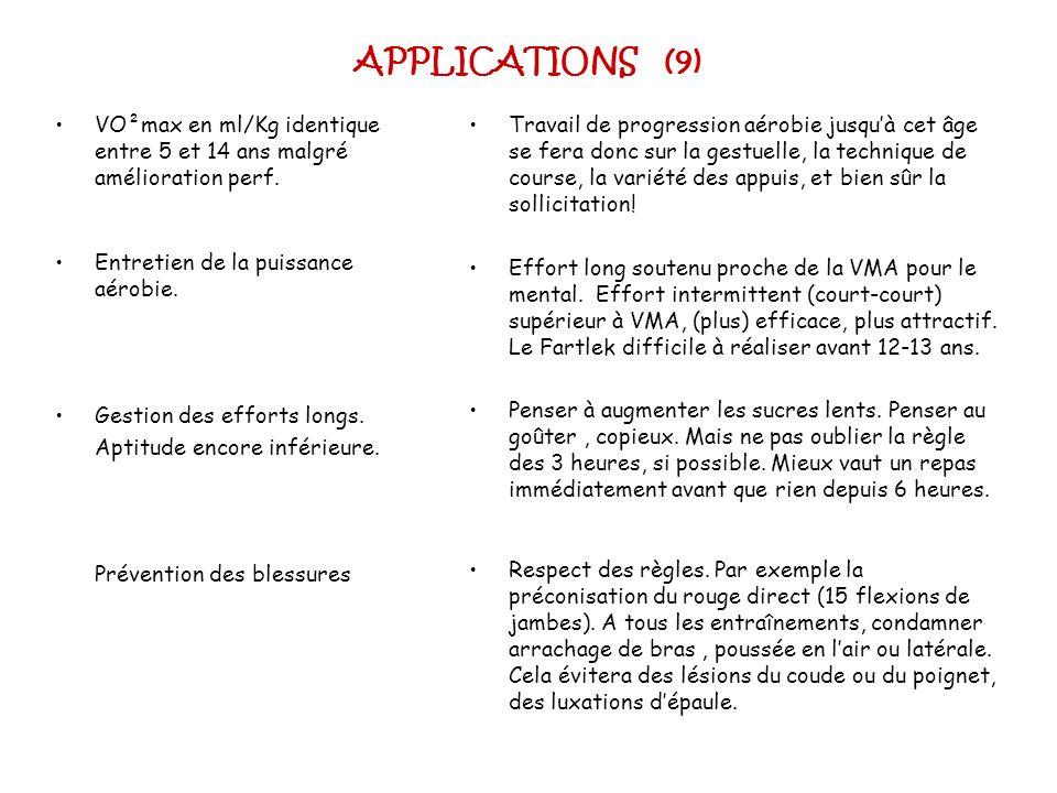 APPLICATIONS (9)VO²max en ml/Kg identique entre 5 et 14 ans malgré amélioration perf. Entretien de la puissance aérobie.